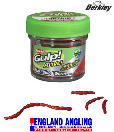 BERKLEY GULP! Alive Maxi Blood Worm (approx 70 worms per tub